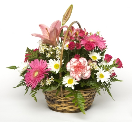 Bixby flower basket florist in bixby oklahoma ok flowers in perfectly pink basket from bixby flower basket in bixby oklahoma click here for larger image perfectly pink basket mightylinksfo